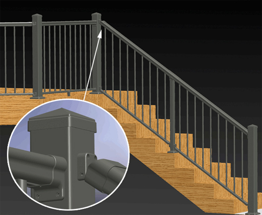 Secondary round rail for Stair and railing solution